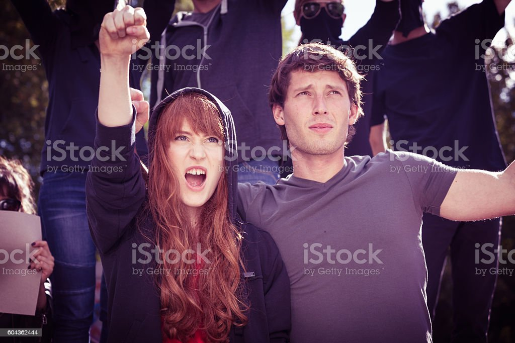 Passionate activists fighting for right cause stock photo