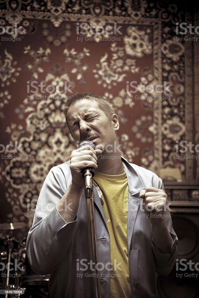 Passionate alternative rock singer stock photo