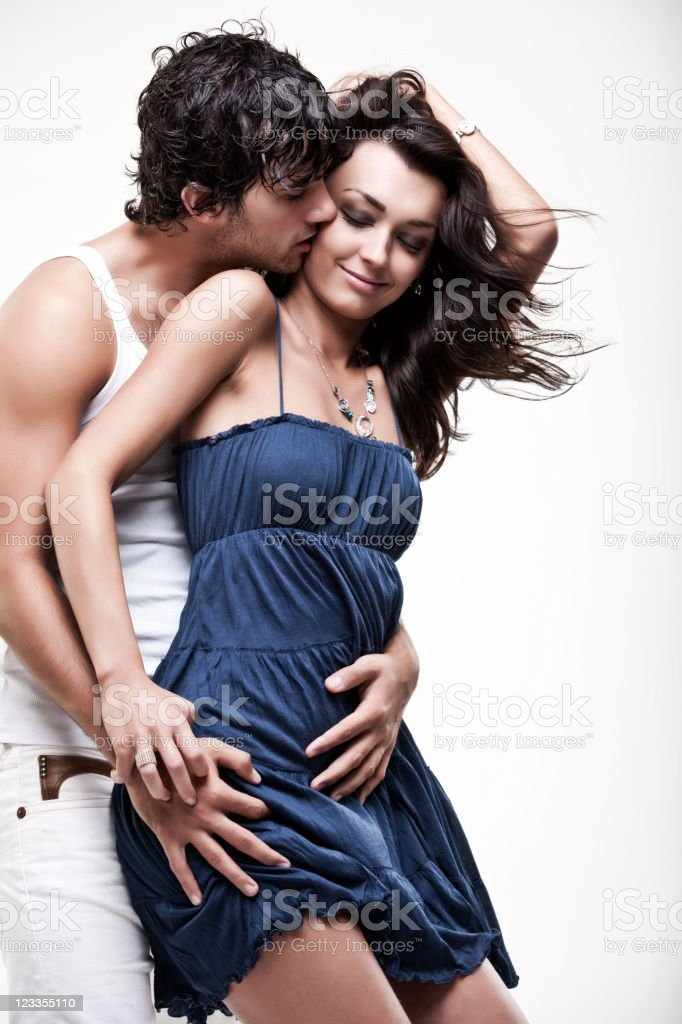 Passionate couple (blue & white shoot) stock photo