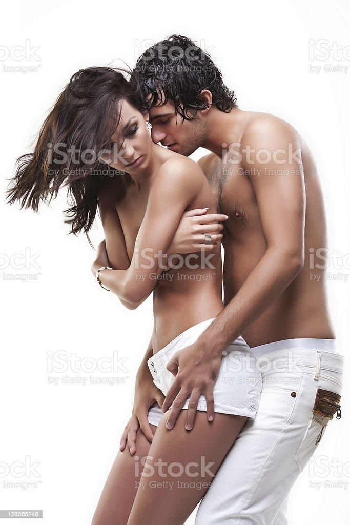 Passionate couple (semi-nude shoot) stock photo