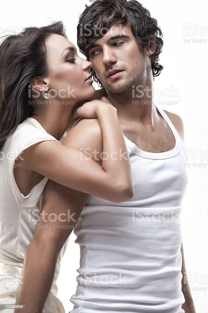 Passionate couple (white dress shoot) royalty-free stock photo