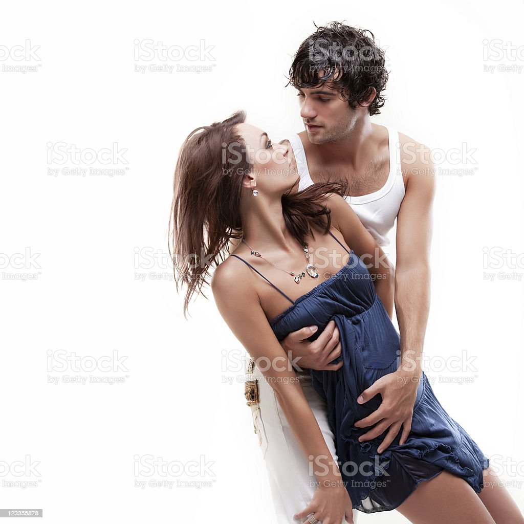 Passionate couple (blue & white shoot) royalty-free stock photo
