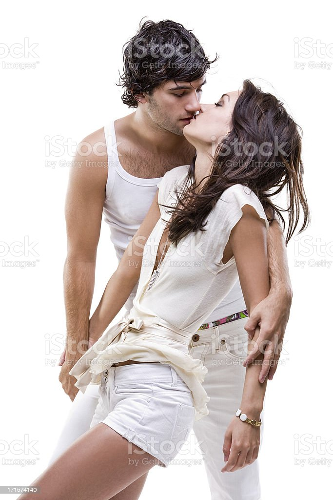 Passionate couple (white dress shoot) royalty-free stock photo