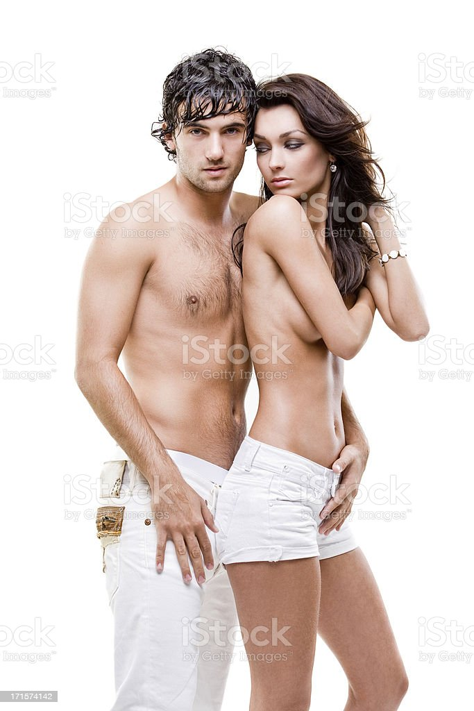 Passionate couple (semi-nude shoot) royalty-free stock photo