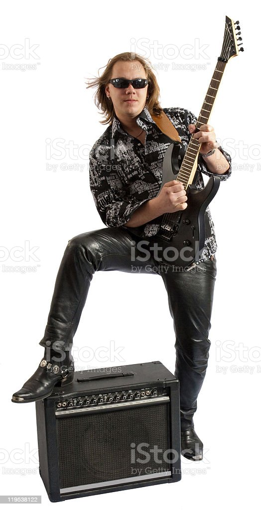 Passionate guitarist playing stock photo