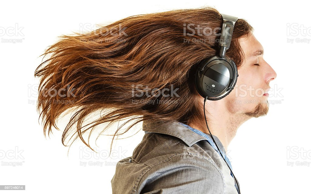 Passionate music lover. Man with headphones. stock photo