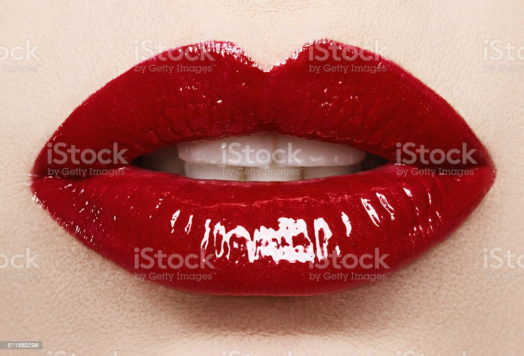 Passionate red lips,macro photography stock photo