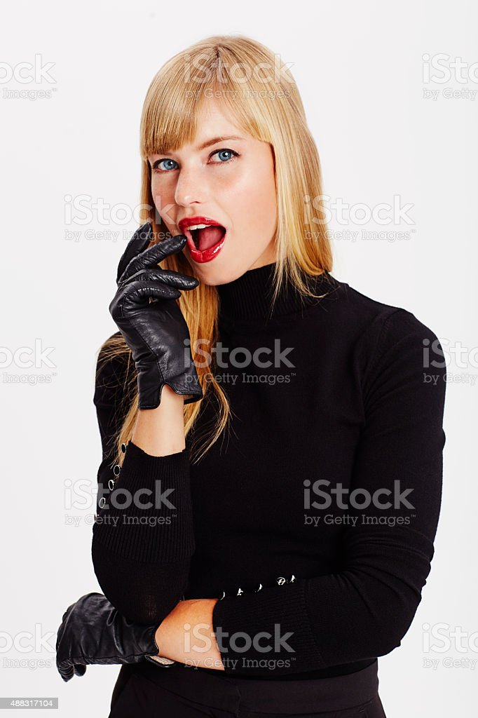 Passionate young woman wearing black stock photo