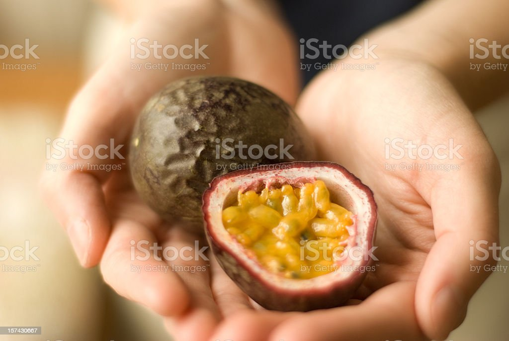 Passionfruit in hands stock photo