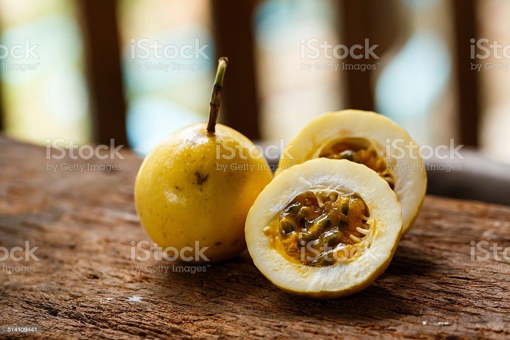 Passionfruit on wood stock photo