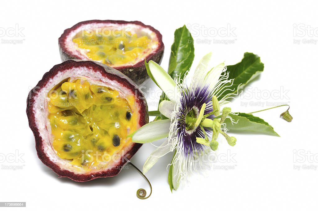 Passionfruit with vine stock photo