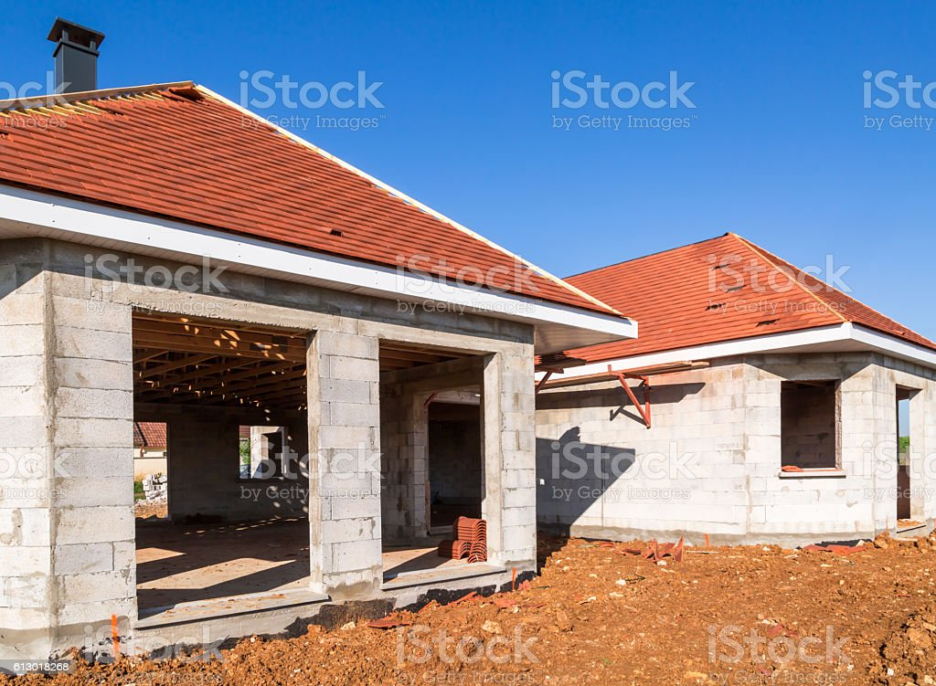 passive house under construction with concrete cellulare stock photo