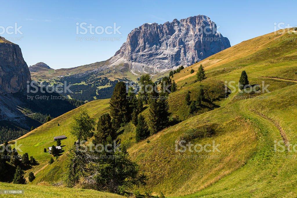 Passo Gardena valley view stock photo