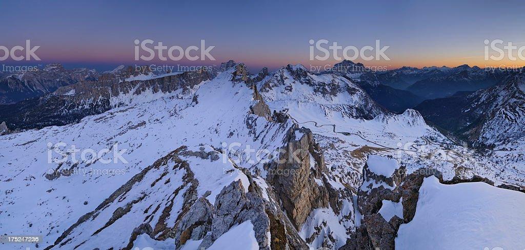 Passo Giau at Twilight (Dolomites - Italy) stock photo