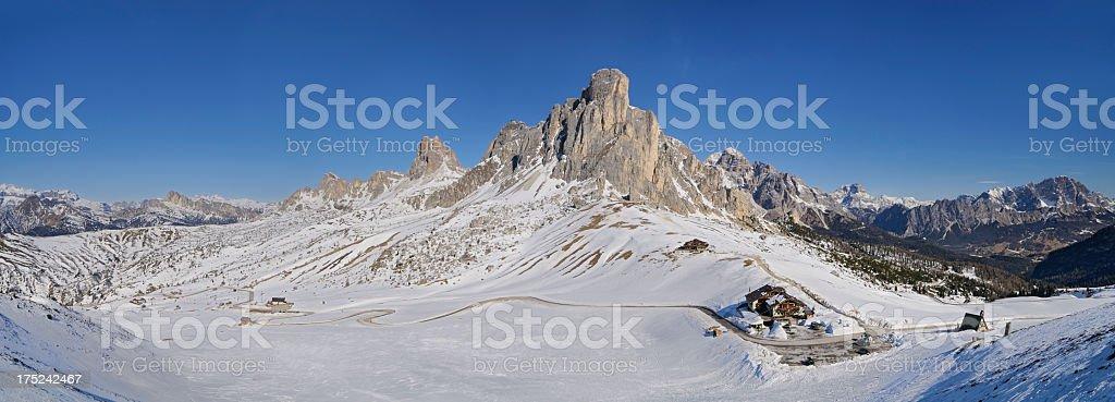 Passo Giau in Winter (Dolomites - Italy) stock photo