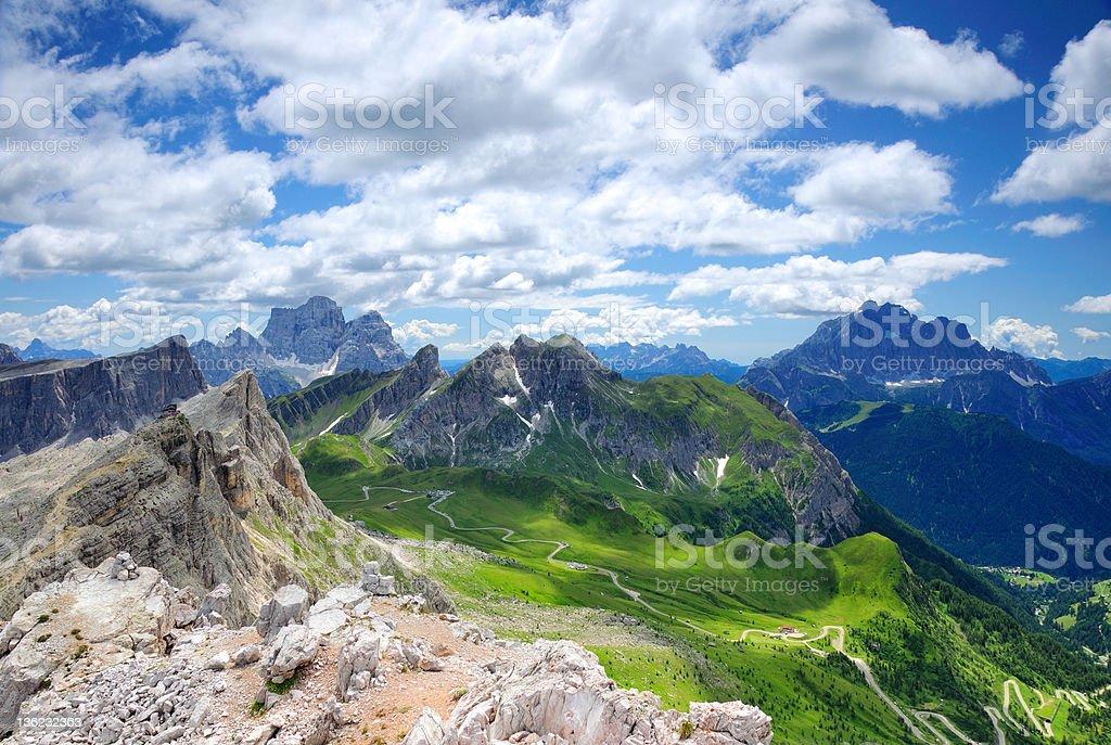 Passo Guai in Dolomites, Italy stock photo
