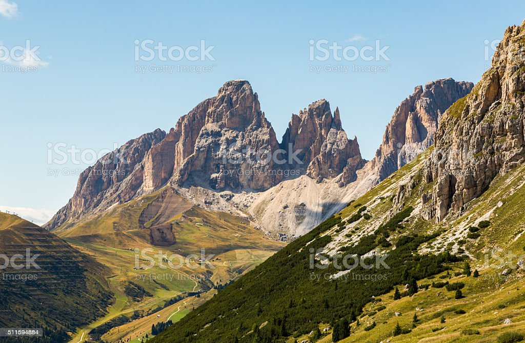 Passo Pordoi with the Langkofel peaks stock photo