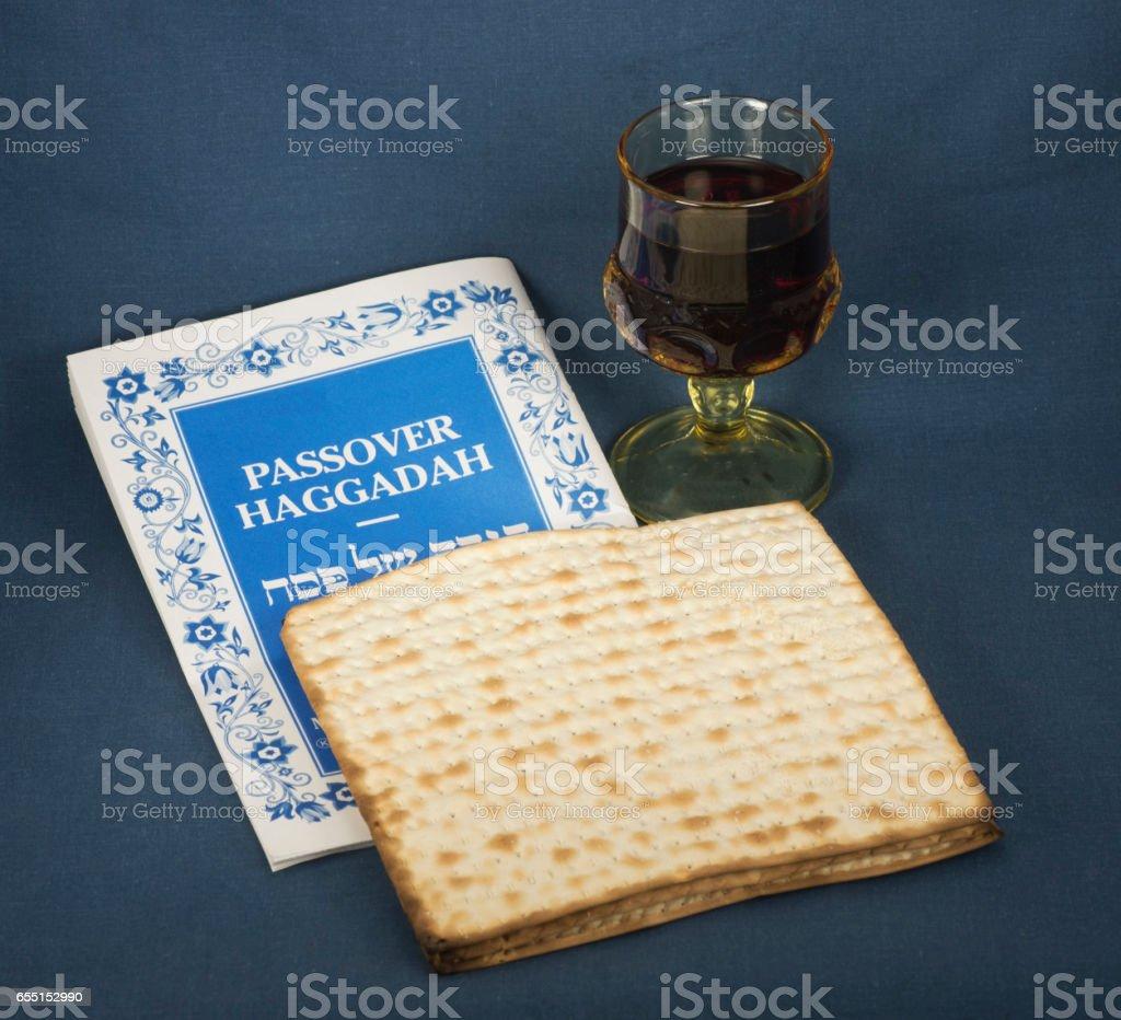Passover Haggadah, Matzo, and Glass of Wine stock photo