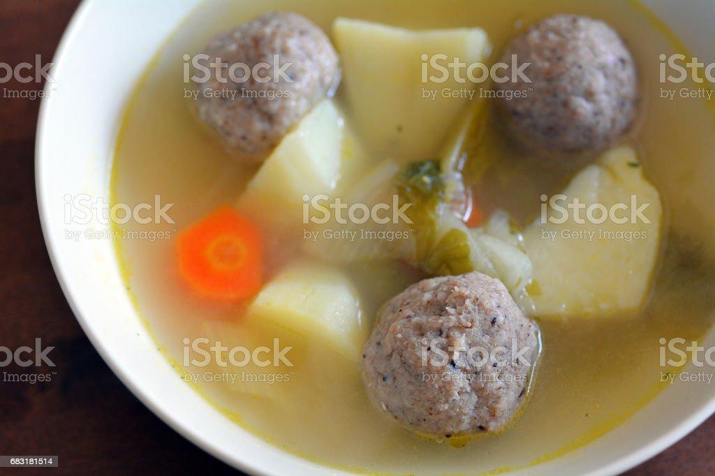Passover Jewish holiday  Food - Matzah balls soup stock photo