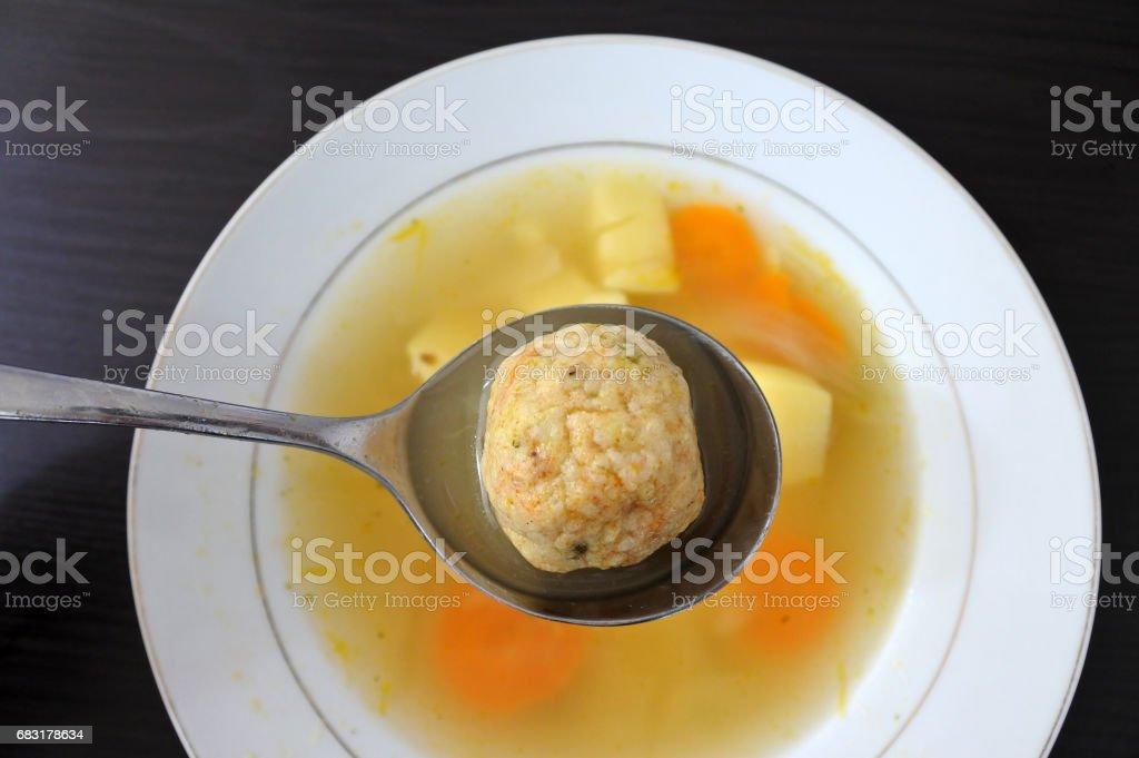 Passover Jewish soup dumpling stock photo
