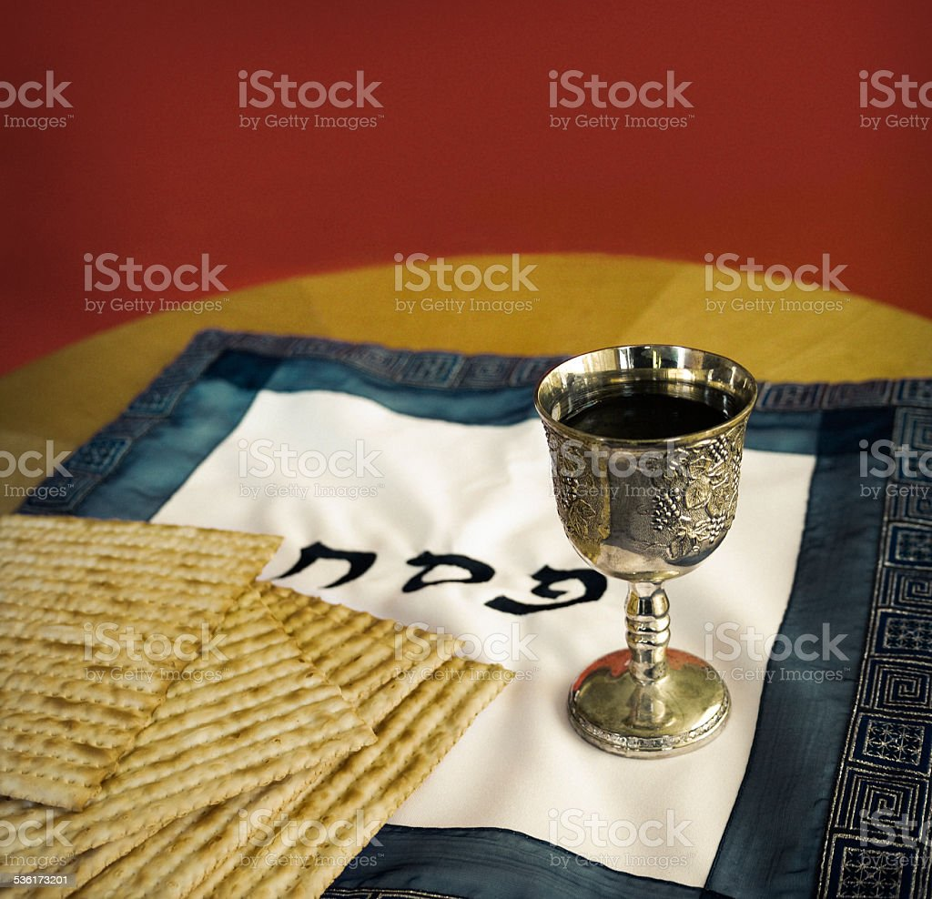 Passover Matzo and wine stock photo