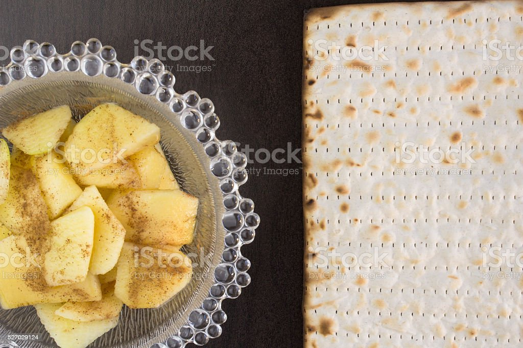 Passover meal of matzo and charoses stock photo