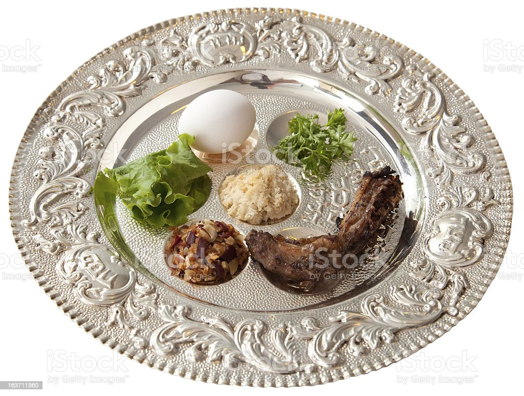 Passover Seder Plate Isolated royalty-free stock photo