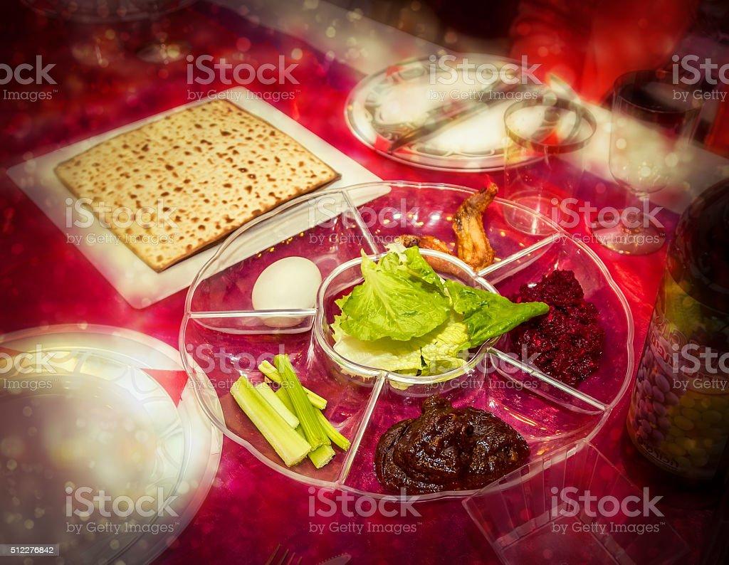 Passover seder plate, jewish holiday stock photo