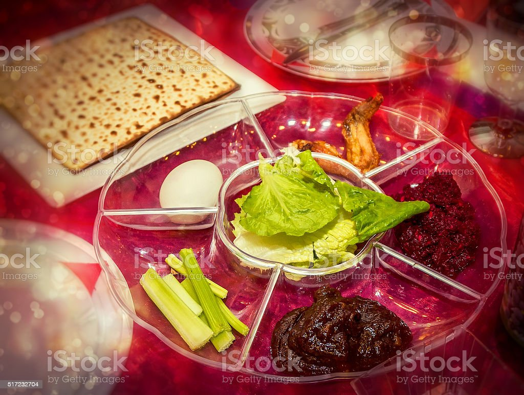 Passover seder plate, jewish holiday stock photo