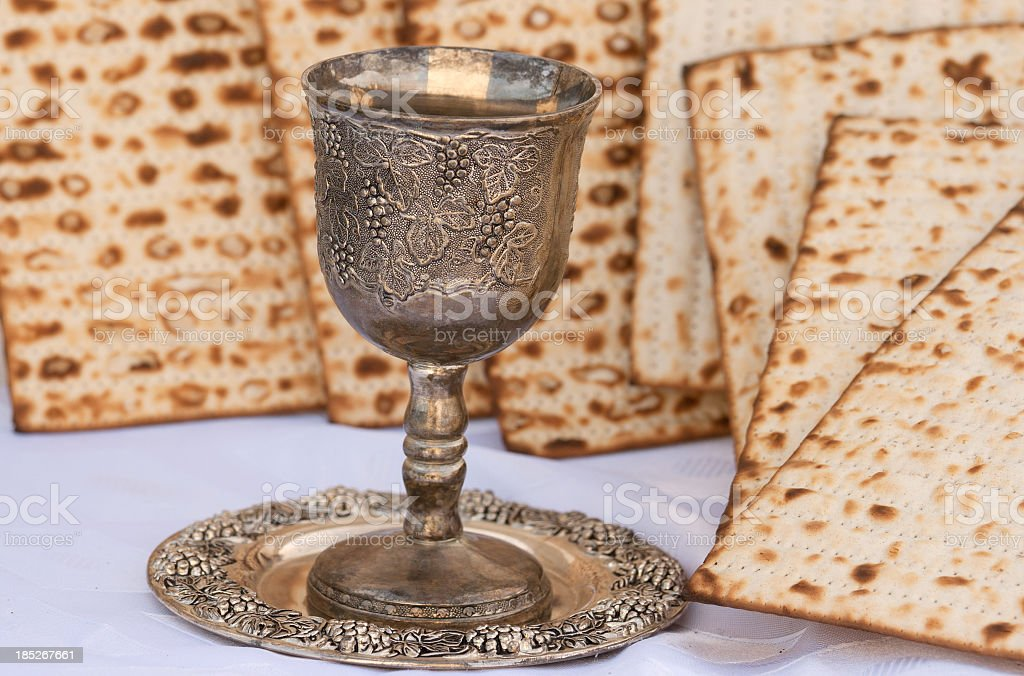 Passover- Wine and Matzo royalty-free stock photo