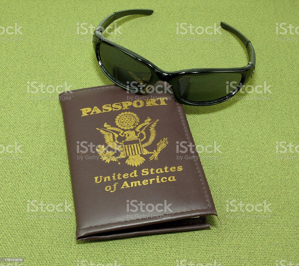 Passport And Black Sunglasses royalty-free stock photo