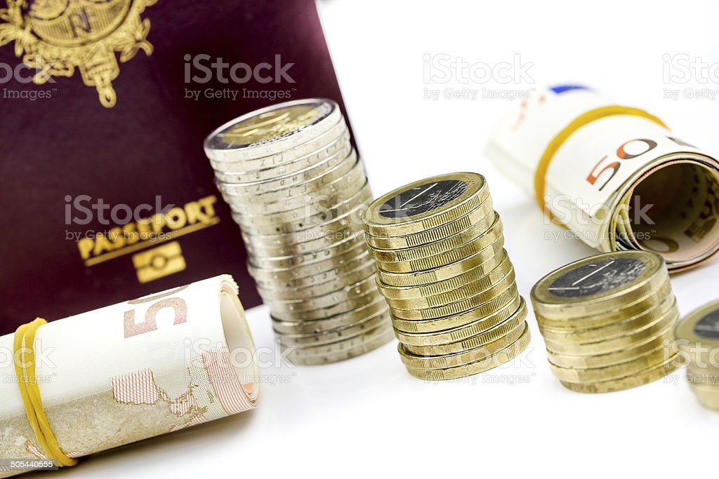 Passport and currency focuses on Euro banknotes royalty-free stock photo
