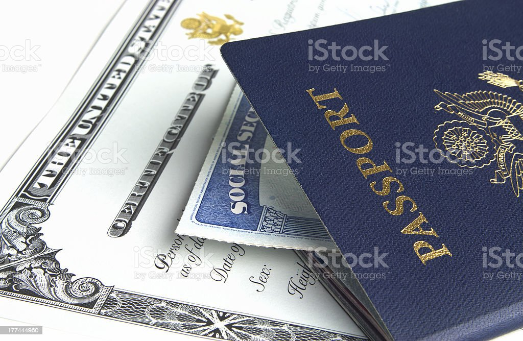 Passport and documents royalty-free stock photo