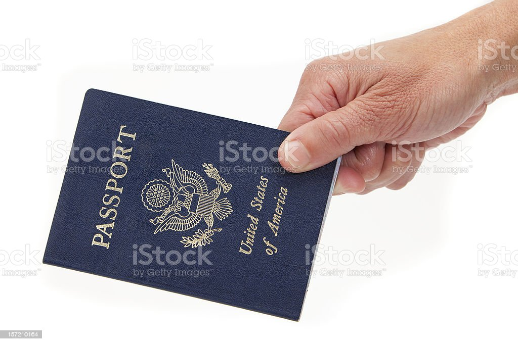 Passport and Hand on White Background stock photo