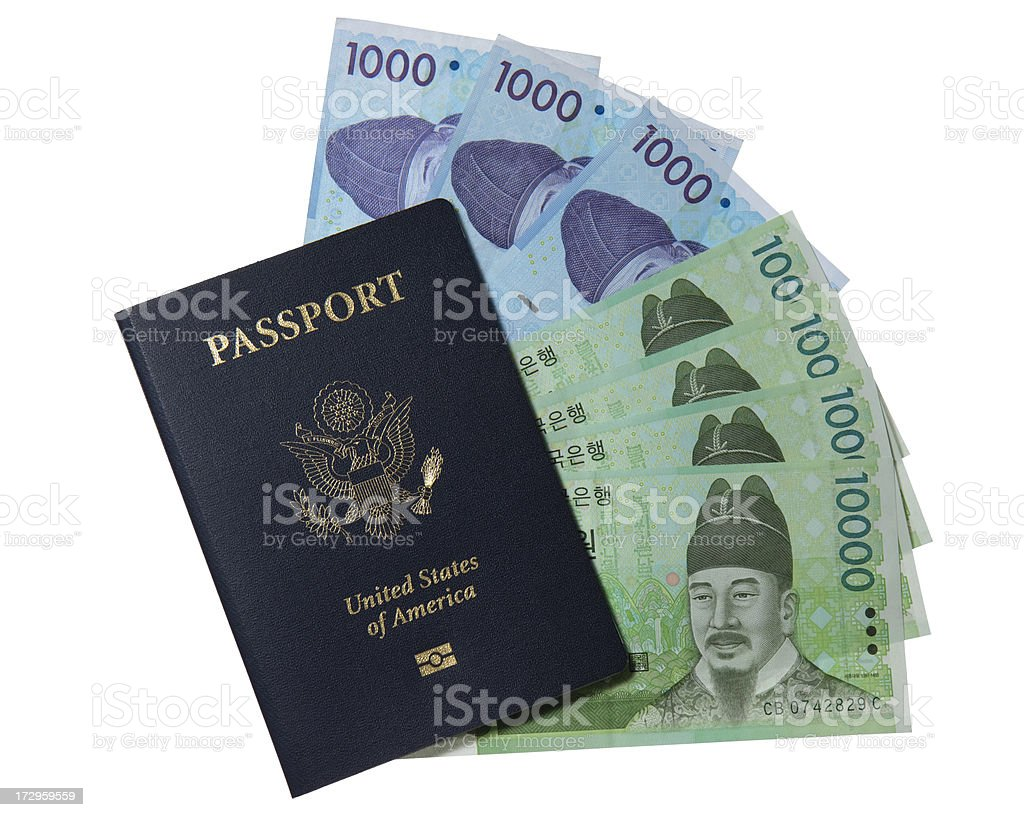 US Passport and Korean currency royalty-free stock photo