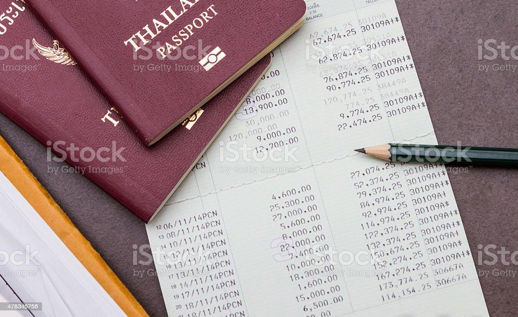 Passport and make money go to the travel. stock photo