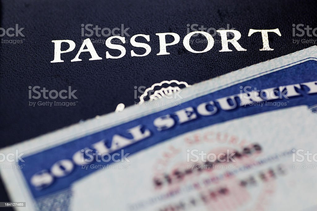 Passport and Social Security Card royalty-free stock photo