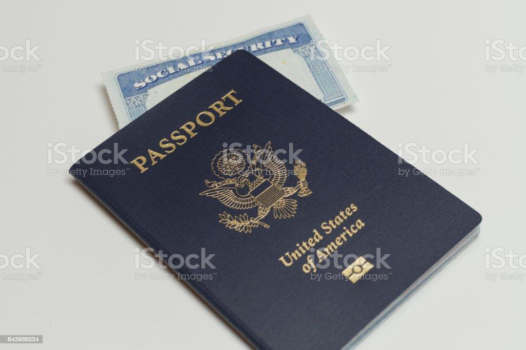 passport and social security card stock photo
