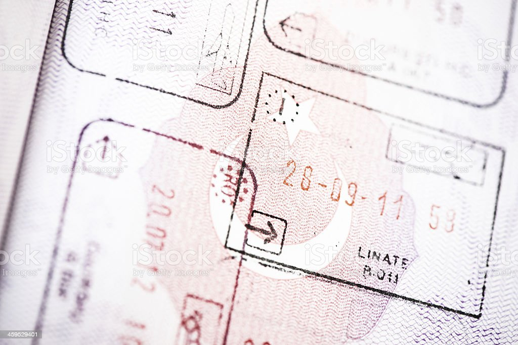 Passport and stamps royalty-free stock photo