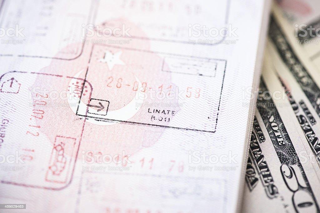 Passport and stamps stock photo