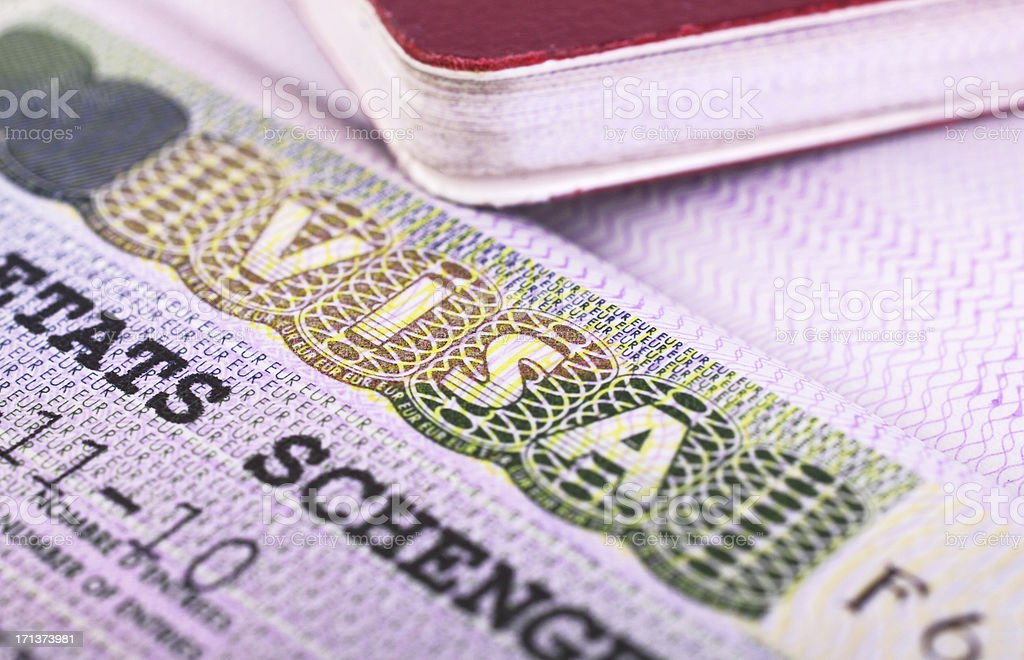 Passport and visa stock photo
