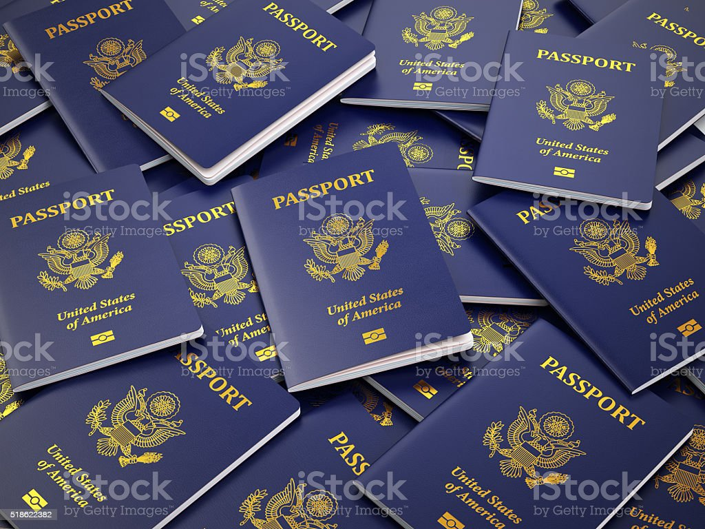 USA passport background. Immigration or travel concept. stock photo