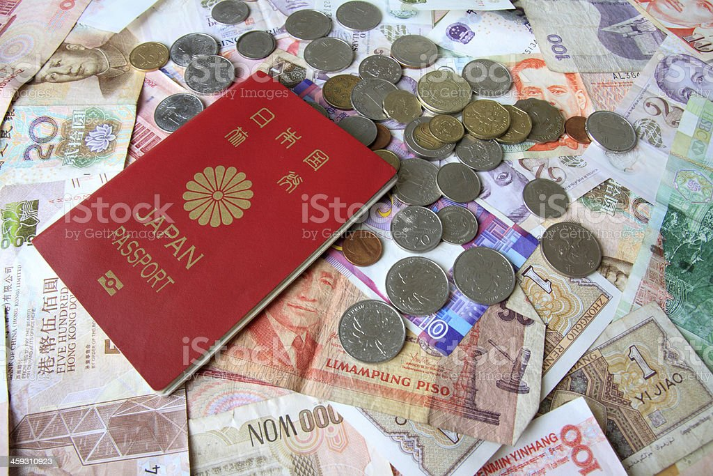 Passport, bills and coins royalty-free stock photo