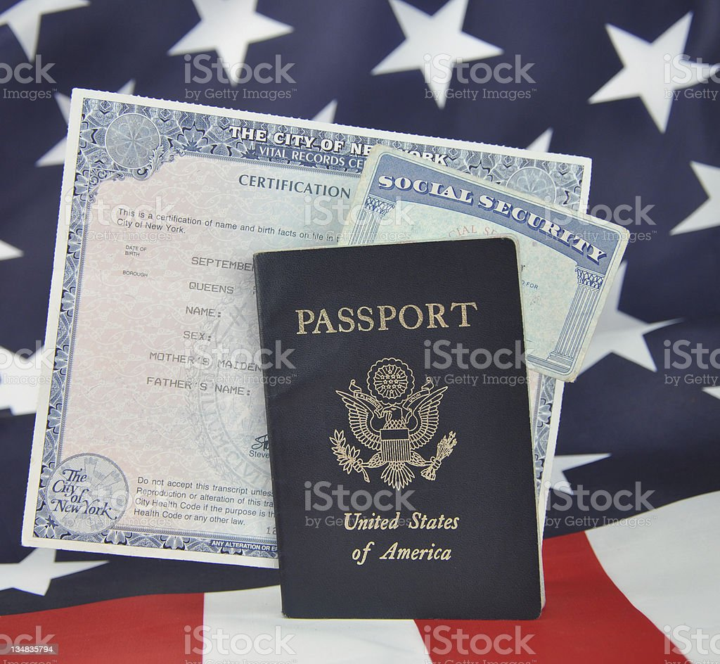 Passport Birth Certificate Social Security Card stock photo
