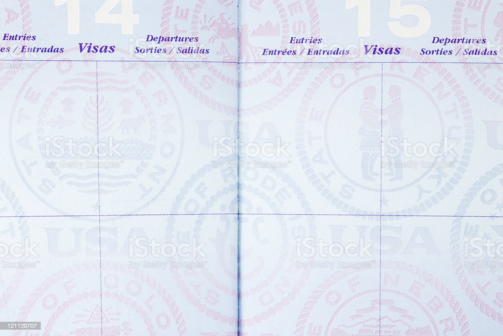 Us passport blank pages stock photo 121120707 istock for Passport picture template