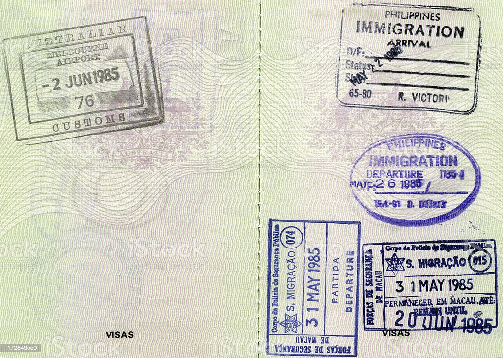 Passport Book Stamps royalty-free stock photo
