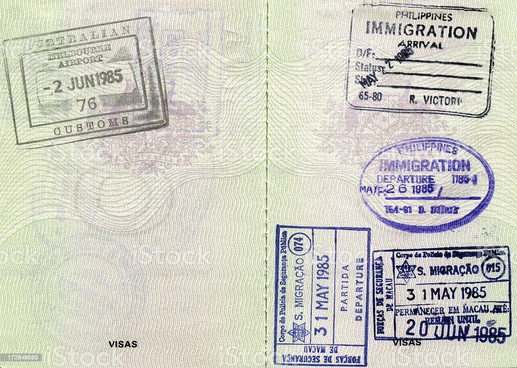 Passport Book Stamps stock photo