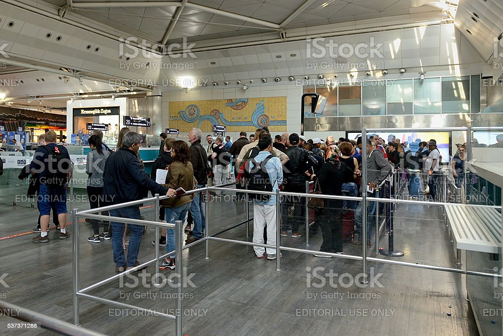 Passport control at Ataturk Airport stock photo
