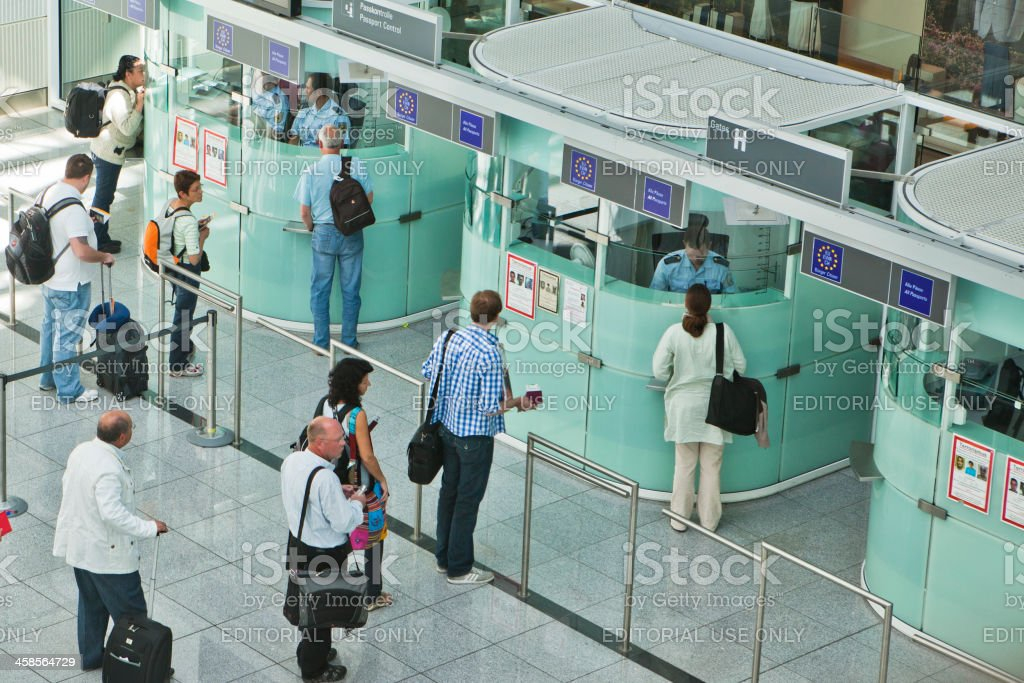 Passport Control at Munich Airport stock photo