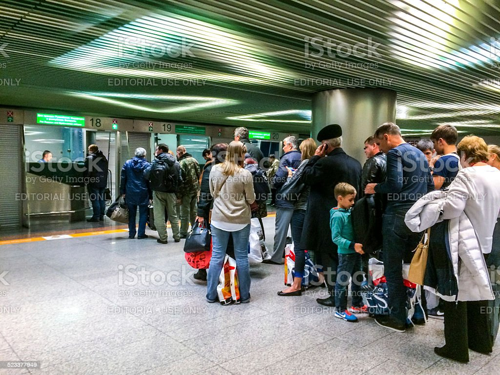 Passport control at Vnukovo International Airport, Moscow stock photo